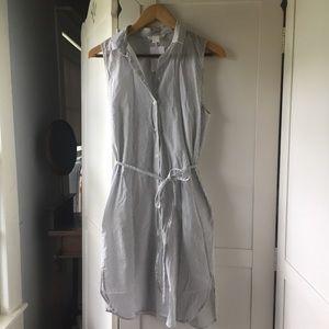 H&M sleeveless cotton pinstripe dress